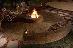 outdoor firepit with retaining wall