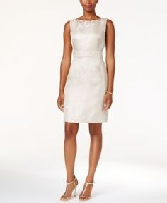 Tahari Asl Embellished Textured Sheath Dress - Tan/Beige 14