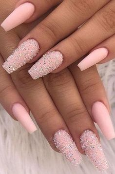 Best Coffin Nails Ideas That Suit Everyone Amazing matte baby pink coffin nails with two glitter nails in sugar effect!Amazing matte baby pink coffin nails with two glitter nails in sugar effect! Nails Yellow, Summer Acrylic Nails, Best Acrylic Nails, Matte Nails, Glitter Nails, Gel Nails, Baby Pink Nails Acrylic, Baby Pink Nails With Glitter, Acrylic Nails Coffin Glitter