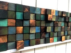 Abstract Painting on Wood - Reclaimed Wood Art Sculpture - Rustic Wall Art