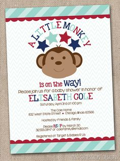 Blue and Red Monkey Printable Baby Shower Invitation