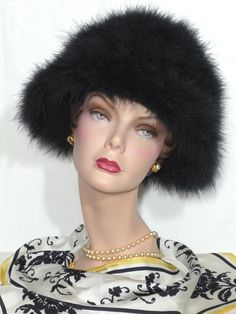 1960s Frank Olive For Neiman Marcus Black Marabou Feather Hat Available at My Vintage Clothes Line on Ruby Lane