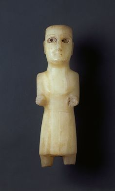 A Large and Rare Sabean, ancient South Arabian Alabaster Figure of a Priest (2 BC to 1 South Arabian)