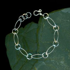 Chain Handmade Sterling Silver Bracelet, Hammered Wirework, Modern Minimalists, Marquise Circle Large Links, Sterling Silver Jewelry Design
