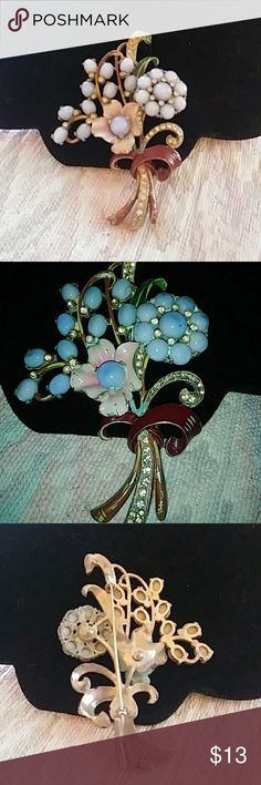 Vintage Hand painted Rhinestone Brooch Quite Lg 4x3 Floral Rhinestone Hand painted brooch Very Nice Jewelry Brooches