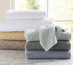 Pottery Barn Diamond Sculpted 600-gram Weight Bath Towels on shopstyle.com