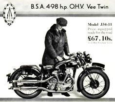 1934 j34-11 v-twin bsa - advert