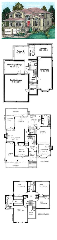 Southwest House Plan 99915 | Total Living Area: 2643 sq. ft., 5 bedrooms & 2.5 bathrooms. #southweststyle #houseplan