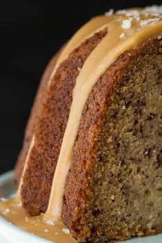 Banana Pound Cake with Salted Toffee Icing