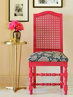 This project seems intimidating—so fancy!—but it's actually as simple as slapping on a fresh coat of paint, reupholstering a cushion, and adding a few finishing touches.