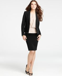 Ann Taylor   Tropical Wool Sophia Jacket  198 USD (for jacket only)  (Don't like shirt.  Do like suit and length of skirt.)