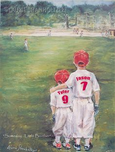 Baseball Personalized sports art - add Names, Numbers, Colors, Ponytail for girls, wall art for kids  by Laurie Shanholtzer