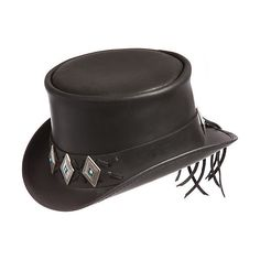Steampunk El Dorado Leather Top Hat with Concho Band ($217) ❤ liked on Polyvore featuring accessories, hats, steampunk, leather adjustable hat, leather top hat, steam punk top hat, adjustable hats and leather brim hat