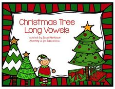 long vowel Christmas tree sort - colored version for a center and a black and white version for seat work
