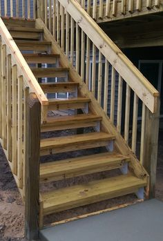 Deck Stairs Using I Stair Deck Brackets.