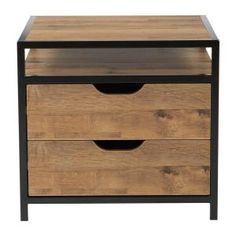 OSP Home Furnishings Quinton alvage Oak and Matte Black Coating Fully Assembled Nightstand, Salvage Oak/Matte Black Log Bedroom Furniture, Kitchen Furniture, Metal Nightstand, Bedside Lamp, Nightstands, Steel Bed Frame, Wood Chest, Furniture Deals, Wood Design