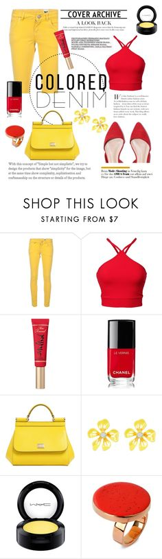 """""""Power yellow"""" by martina-b33 ❤ liked on Polyvore featuring M Missoni, Too Faced Cosmetics, Chanel, Dolce&Gabbana, Betsey Johnson, MAC Cosmetics and STELLA McCARTNEY"""