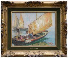 Luigi Pagan - Pescatori in laguna - Antichità Missaglia Italian Paintings, Fishing Boats, Venetian, Luigi, Pagan, Cod, Venice, Art, Cod Fish