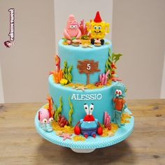Spongebob party - Cake by Naike Lanza Spongebob Torte, Spongebob Cartoon, Spongebob Birthday Party, Cartoon Birthday Cake, Sea Cakes, Cakes For Boys, Girl Cakes, Cute Cakes, Cake Creations