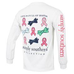 Simply Southern Breast Cancer Long Sleeve T-Shirt - White #simplysouthern #pinkribbon #breastcancer #thinkpink