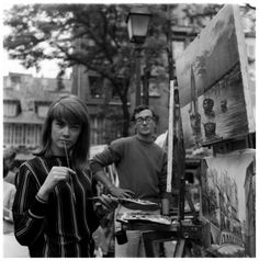 "Francoise Hardy at Montmartre 1960s - AKA Françoise Madeleine Hardy    Born: 17-Jan-1944  Birthplace: Paris, France    Occupation: Singer/Songwriter    Nationality: French; Best known as The Yeh-Yeh Girl; Had a surprise hit with the song ""Tous les garçons et les filles"" in 1962. At the height of her popularity, Bob Dylan wrote a poem about her, published on the LP sleeve of ""Another Side of Bob Dylan"" in 1964, though he did not actually meet her until two years later."