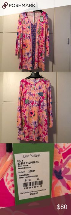 NWT Paradis Dress Beautiful flowers and bright colors make this Lilly dress a standout. Print is Tipping Point.  Never worn. Lilly Pulitzer Dresses