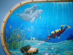 Aquarium Mural on Canvas by PatMcWhorter on Etsy, $595.00