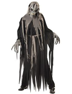 This scary Crypt Crawler costume comes with a super detailed ani-motion mask with mouth and lips that move when you do!Size: Mens Large Robe, robe tie, hood, hands, and ani-motion character maskPerfect for Halloween or dress up Creative Halloween Costumes, Halloween Outfits, Adult Costumes, Adult Halloween, Halloween Ideas, Costume Ideas, Crane, Reaper Costume, Black