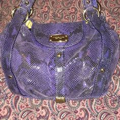 Michael Kors purse New!  never used Perfect condition Nwot Michael Kors blue snakeskin style purse-never carried! Looks great with everything-Thanks for looking!! Michael Kors Bags