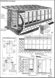 Free SOLAR Lean-to greenhouse plans: Great ideas for a DIY solar greenhouse that is attached to your home. Lean To Greenhouse, Greenhouse Plans, Greenhouse Gardening, Heated Greenhouse, Cheap Greenhouse, Portable Greenhouse, Indoor Greenhouse, The Plan, How To Plan