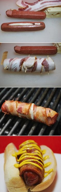 Bacon Wrapped Cheese Hot Dogs.  My Grandma used to make these with Velveta.  <3 her