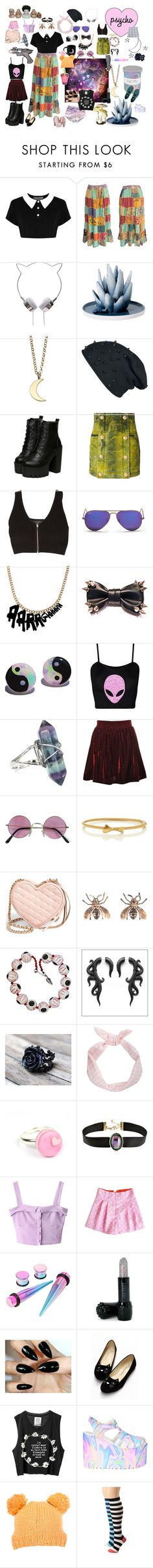 """""""My interests are really messy"""" by horsegirlnamedethyl ❤ liked on Polyvore featuring Killstar, Alöe, Minor Obsessions, Balmain, rag & bone, Ray-Ban, Hudson Jeans, Kate Spade, Zone and Rebecca Minkoff"""