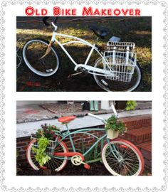 Cute Bicycle Redo :)                                           old bike makeover 1, bicycle makeover, bike upcycle, bicycle upcycle, vintage bike, bike planters, bicycle baskets, pedals, orange and teal, orange and turquoise, bicycle upcycle, heather mcvey-beavers, recycle bicycle, tires, bike redo