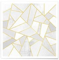 White Stone with Gold Lines - Elisabeth Fredriksson - Affiche premium