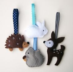 Handmade Felt Christmas Ornaments- Woodland Animals.