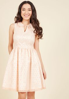 3f20799c048 Commendable Character Fit and Flare Dress by ModCloth - Cream
