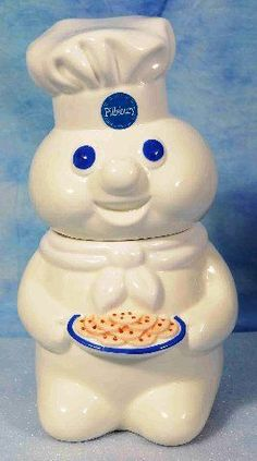 "Pillsbury Doughboy Cookie Jar 12"" Ceramic Benjamin & Medwin 1997 NEW IN BOX"
