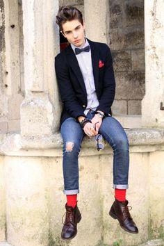 Men's Navy Blazer, Light Violet Vertical Striped Dress Shirt, Navy Ripped Skinny…
