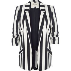 River Island White and navy stripe ruched sleeve blazer ($110) ❤ liked on Polyvore featuring outerwear, jackets, blazers, coats / jackets, white, women, striped jacket, open front blazer, 3/4 sleeve blazer and white blazer jacket