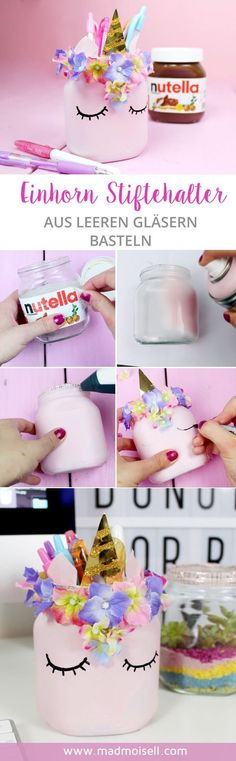 Make DIY unicorn pen holder from empty Nutella glasses yourself - Cool DIY upcycling idea!, Make DIY unicorn pen holder from empty Nutella glasses yourself - Cool DIY upcycling idea! The highlight of my DIY idea: I made the pen holder from em. Kids Crafts, Diy And Crafts, Craft Projects, Preschool Crafts, Decor Crafts, Home Crafts, Paper Crafts, Cool Diy, Easy Diy