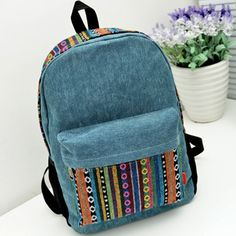Canvas Backpack with Colorful Stripes