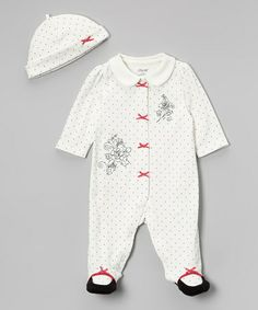 Take a look at this White & Black Ribbon Footie & Beanie - Infant by Little Me on #zulily today!