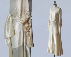1920s Wedding Dress / 20s LIQUID SATIN by GuermantesVintage
