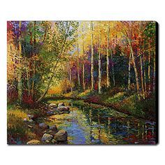 Hand Painted Oil Painting Landscape Colorful Trees 1211-LS0171 – USD $ 99.99