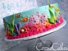 Cricut Cake, Ocean Cakes, Beach Cakes, Cake Decorating Techniques, Cake Decorating Tips, Fondant Cakes, Cupcake Cakes, Decors Pate A Sucre, Coral Cake
