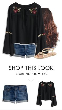 """""""Black blouse"""" by aweaver-2 on Polyvore featuring J.Crew, Chicwish and Ancient Greek Sandals"""