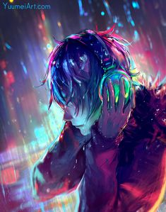"yuumei-art: "" Nothing like some neon lights in the rain as a warm up to get back into that cyberpunk mood before I work on my Fisheye Placebo comic :) You can read all existing chapters of my. Cool Anime Guys, Cute Anime Boy, Anime Art Girl, Manga Art, Manga Anime, Anime Boys, Dark Anime, Yuumei Art, Fisheye Placebo"