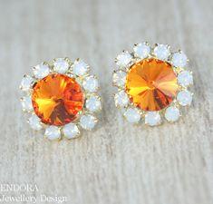 Tangerine Orange Swarovski crystal earrings #EndoraJewellery, $30.50