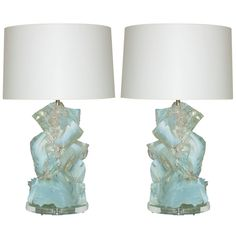 Pair of White Opaline Rock Candy Lamps