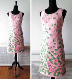 1960s Dress // Vintage Bijou // Pink Poppies by myVintageValentine, $46.00